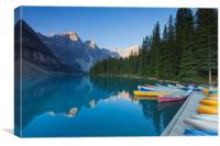Canoes at Moraine Lake, Canvas Print