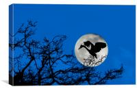 Heron Landing in Tree at Full Moon, Canvas Print