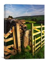 Dry Stone Wall and Gates, Grassington, Yorkshire D, Canvas Print