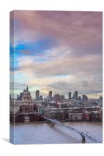 High angle view of Thames and St Paul's Cathedral, Canvas Print