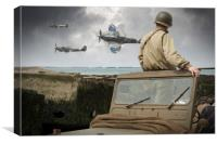 American GI on Normandy beach watches Spitfires, Canvas Print