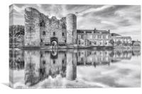 Tonbridge Castle Reflections 2 (black and white), Canvas Print