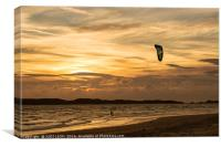 Kite surfer riding along the tideline at sunset, Canvas Print
