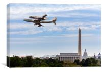 Space Shuttle Discovery flies over Washington DC, Canvas Print