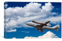 Space Shuttle Discovery flies into clouds, Canvas Print