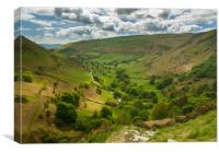 View down valley from top of Pistyll Rhaeadr, Canvas Print