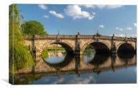View over the River Severn of English Bridge in Sh, Canvas Print