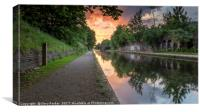 Dramatic sunset over a calm Birmingham Canal, Canvas Print