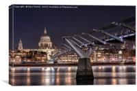 St Paul's and the Millennium Bridge at night, Canvas Print