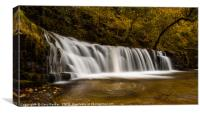 Waterfall with smooth water in the autumn, Canvas Print