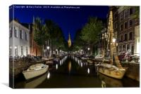 Amsterdam canal, at night, Canvas Print
