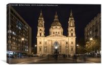 St. Stephen's Basilica, in Budapest, lit up, Canvas Print
