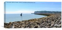 Cardiff Bay, South Wales. Large stone breakwater, Canvas Print