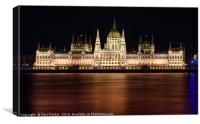 Hungarian Parliament building, in Budapest, night, Canvas Print