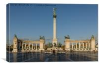 Hero's Square, Budapest, Hungary, on a bright, sun, Canvas Print