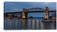 Burrard Bridge, Vancouver, Canada, at dusk, Canvas Print