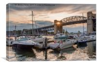 Sunburst through Burrard Bridge, Vancouver, Canada, Canvas Print