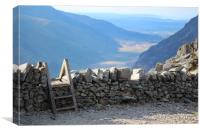 Stile over Stone Wall in Snowdonia, Wales, Canvas Print