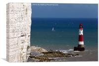 Beachy Head Lighthouse and sailing boat, Canvas Print