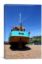 Fishing boat on the beach at Hastings, Canvas Print