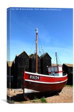 Fishing boat and historic net shops Hastings, Canvas Print