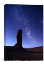 Moais de Tara and Milky Way Atacama Desert Chile, Canvas Print