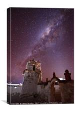 Milky Way Above Parinacota Village Church Chile, Canvas Print
