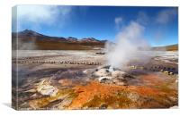 Mineral Deposits and Geyser at El Tatio Chile, Canvas Print