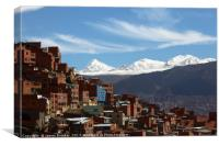 Suburbs of La Paz and Cordillera Real Bolivia, Canvas Print