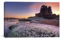 Frosty Sunrise at Ogmore Castle, Canvas Print