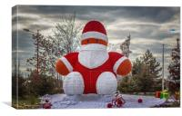 The Incredible Giant Santa Smiley Puppet Doll, Canvas Print