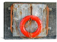 life buoy on a weathered wooden board with faded o, Canvas Print