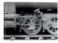 wheels on an old rusting steam locomotive , Canvas Print