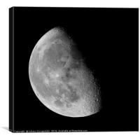 Waning gibbous Moon on black sky, Canvas Print