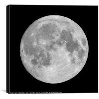 Full moon on black sky background, Canvas Print