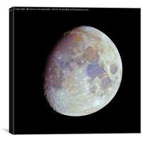Waxing gibbous color Moon on black sky, Canvas Print