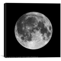 Full moon isolated on black night sky background, Canvas Print
