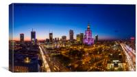 Warsaw city center at dusk aerial view, Canvas Print