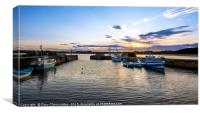 Sunset at Beadnell, Canvas Print