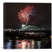 Fireworks over the Bridge, Canvas Print