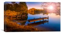 Wooden Jetties on a Becalmed Lake at Sunset, Canvas Print