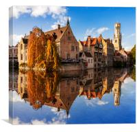 Canals and Buildings of Bruges in Belgium in autumn, Canvas Print