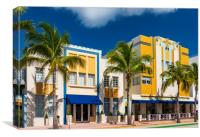 Art Deco district hotels on Ocean Drive, Miami Beach, Canvas Print