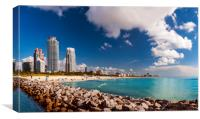 Miami Beach panorama - sun, sand and sea, Canvas Print