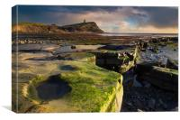 Golden hour at Kimmeridge on the Dorset Coast, Canvas Print