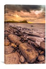 Rocks and ledges of Kimmeridge Bay at sunset, Canvas Print