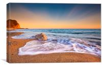 Serene South Dorset Beach and Sea at Sunset , Canvas Print