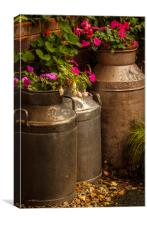 Flowers in old milk churns, Canvas Print
