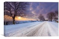 Snow covered lane in Oxfordshire, Canvas Print