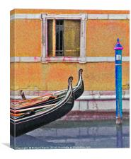 Two gondolas moored on canal in Venice, Canvas Print
